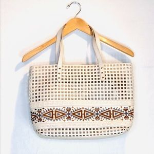 Steve Madden White Laser Cut Creme Shoulder Bag